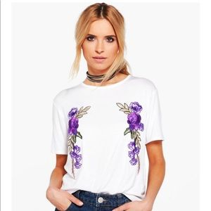Boohoo white t-shirt with floral appliqués